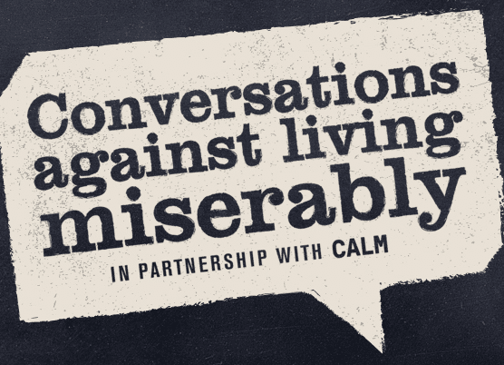 Logo for the Conversations Against Living Miserably podcast