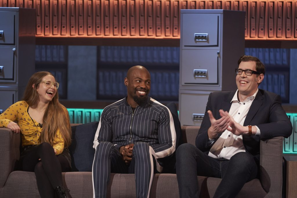 Darren on the sofa with Jessie Cave and Richard Osman
